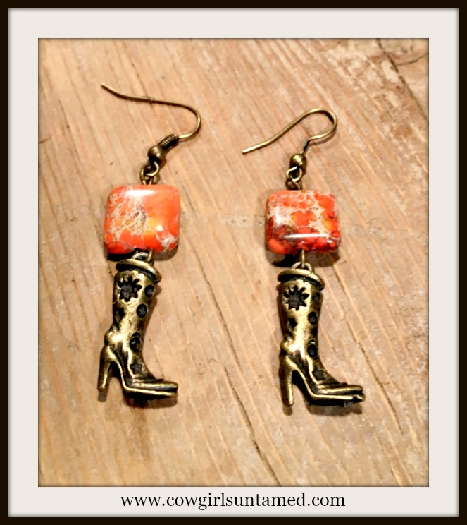 WESTERN COWGIRL EARRINGS Antique Bronze Cowgirl Boot Charms on Orange Jasoper Gemstone Earrings