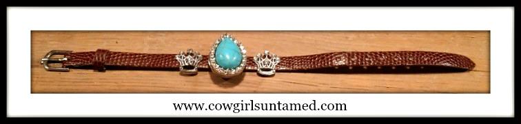 """COWGIRL GLAM BRACELET Rhinestone Turquoise Charm on Embossed Leather """"SNAP"""" Bracelet"""
