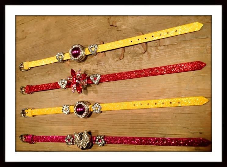 "COWGIRL GLAM BRACELET Rhinestone Charms on Glitter Leather ""SNAP"" Bracelets"