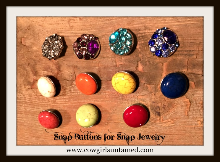 SNAP ON JEWELRY BUTTONS Rhinestone & Turquoise SNAP ON Jewelry Buttons