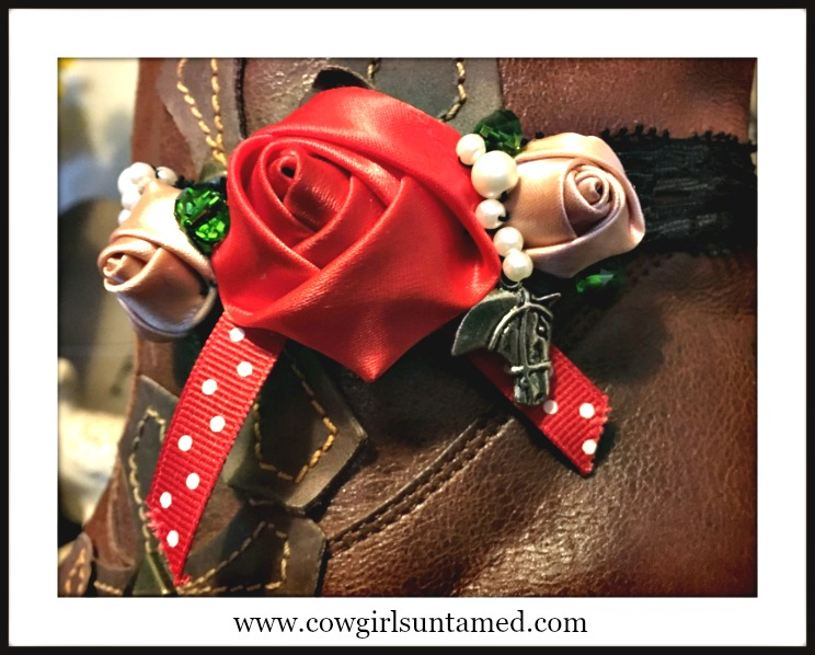WILDFLOWER BOOT JEWELRY Red Silk Rose and Polka Dot Ribbon with Pearls & Crystals and Antique Silver Horse Charm Boot Cuff
