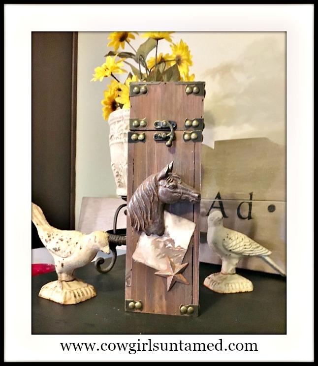 WESTERN COWGIRL DECOR Horse Star and Photo Embellished Nailhead Medium Decorative Box