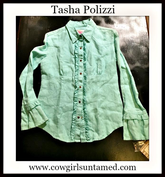 TASHA POLIZZI TOP Aqua Ruffle Linen Button Front Designer Western Blouse