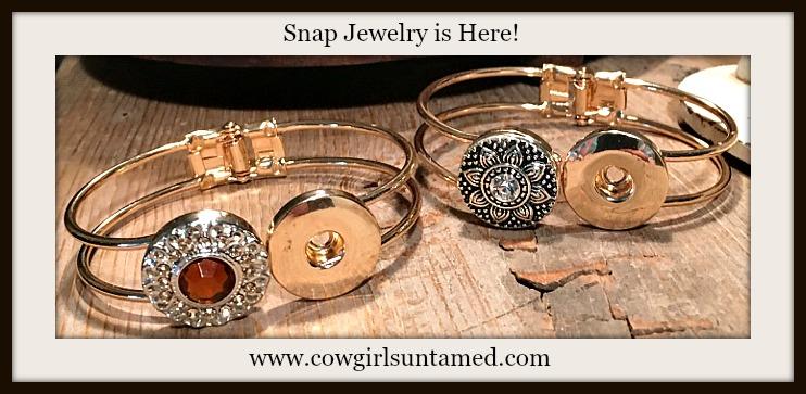 COWGIRL ATTITUDE BRACELET Golden Double Snap Charm Bracelet w/ 1 FREE Snap Charm