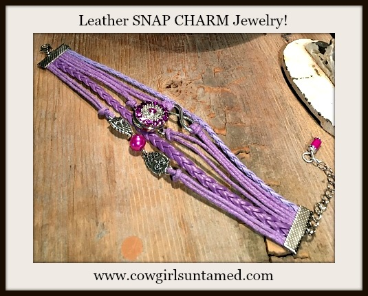 COWGIRL ATTITUDE BRACELET Purple Silver Owls, Pearl & Infinity Charm with Rhinestone Snap Charm on Leather Bracelet