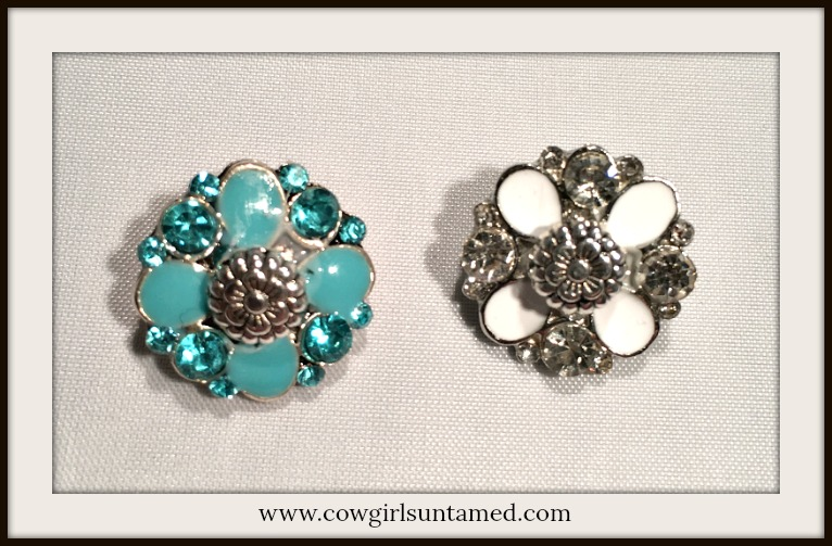 COWGIRL STYLE SNAP CHARMS Enamel and Rhinestone Floral Silver Snap Charms - 2 Colors