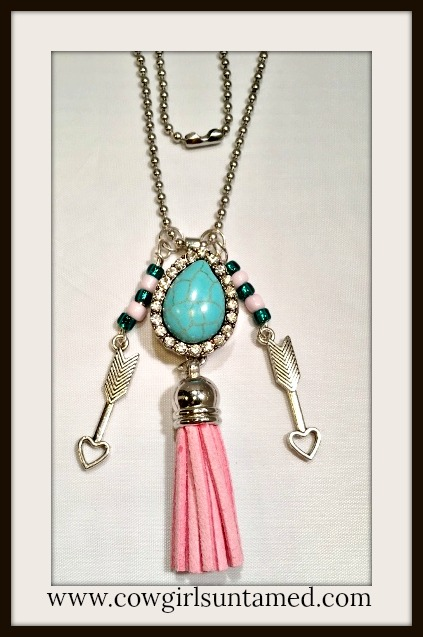 COWGIRL  STYLE NECKLACE Pink Fringe Heart Arrow Charm Turquoise RHINESTONE Snap Pendant Necklace