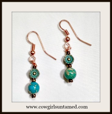 GYPSY SOUL EARRINGS Aqua Patina Copper Daisy and Metallic Copper with Blue Jasper Gemstone Earrings