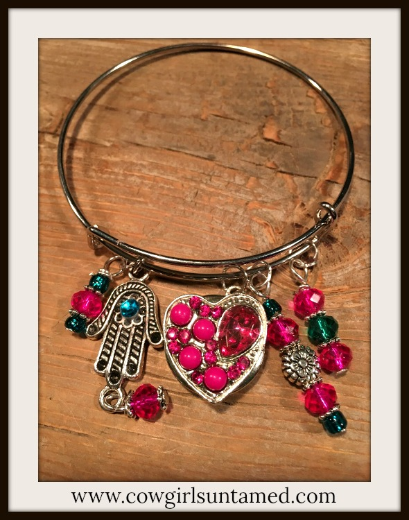COWGIRL GYPSY BRACELET Hot Pink Pearl Crystal Heart Snap Flower Teal Handmade Beaded Charms Boho Silver Bangle