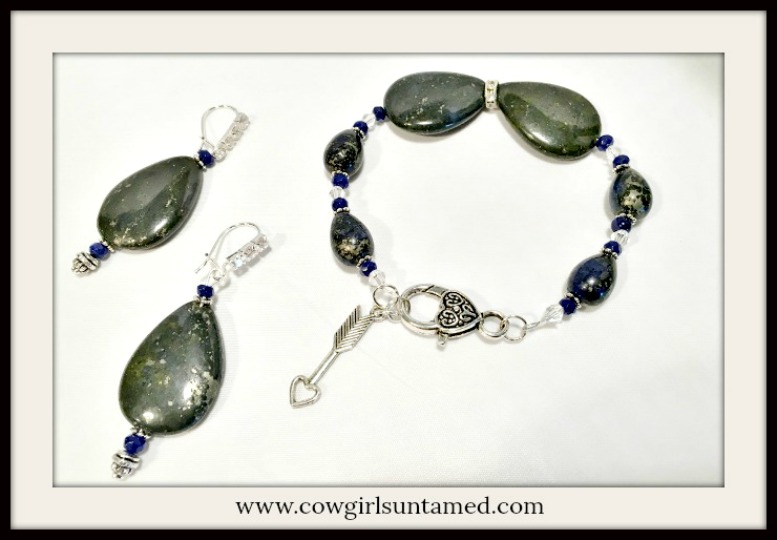 BOHEMIAN COWGIRL JEWELRY SET Blue Lapis & Dark Navy Large Gemstone & Rhinestone Earrings & Bracelet
