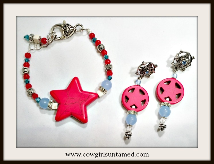 AMERICA FIRST JEWELRY SET Rhinestone Light Blue Crystal & Gemstone Red Turquosie Star Earrings and Bracelet Set