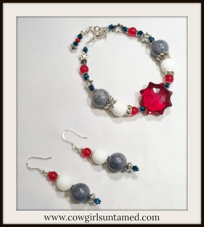 AMERICA FIRST JEWELRY SET Red White and Blue Gemstone Crystal Star Earrings & Bracelet Set