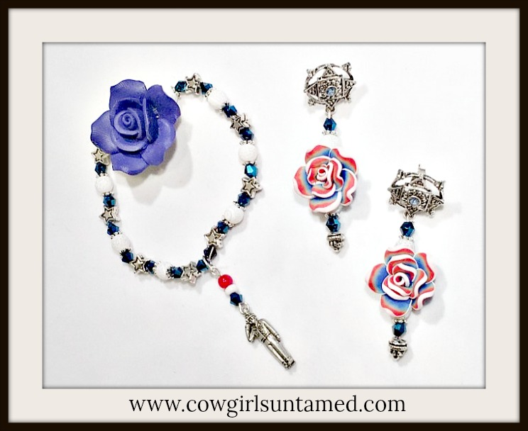AMERICA FIRST JEWELRY SET Antique Silver Stars Dark Blue Crystals White Gemstone Beaded Earrings Bracelet  Charm Set