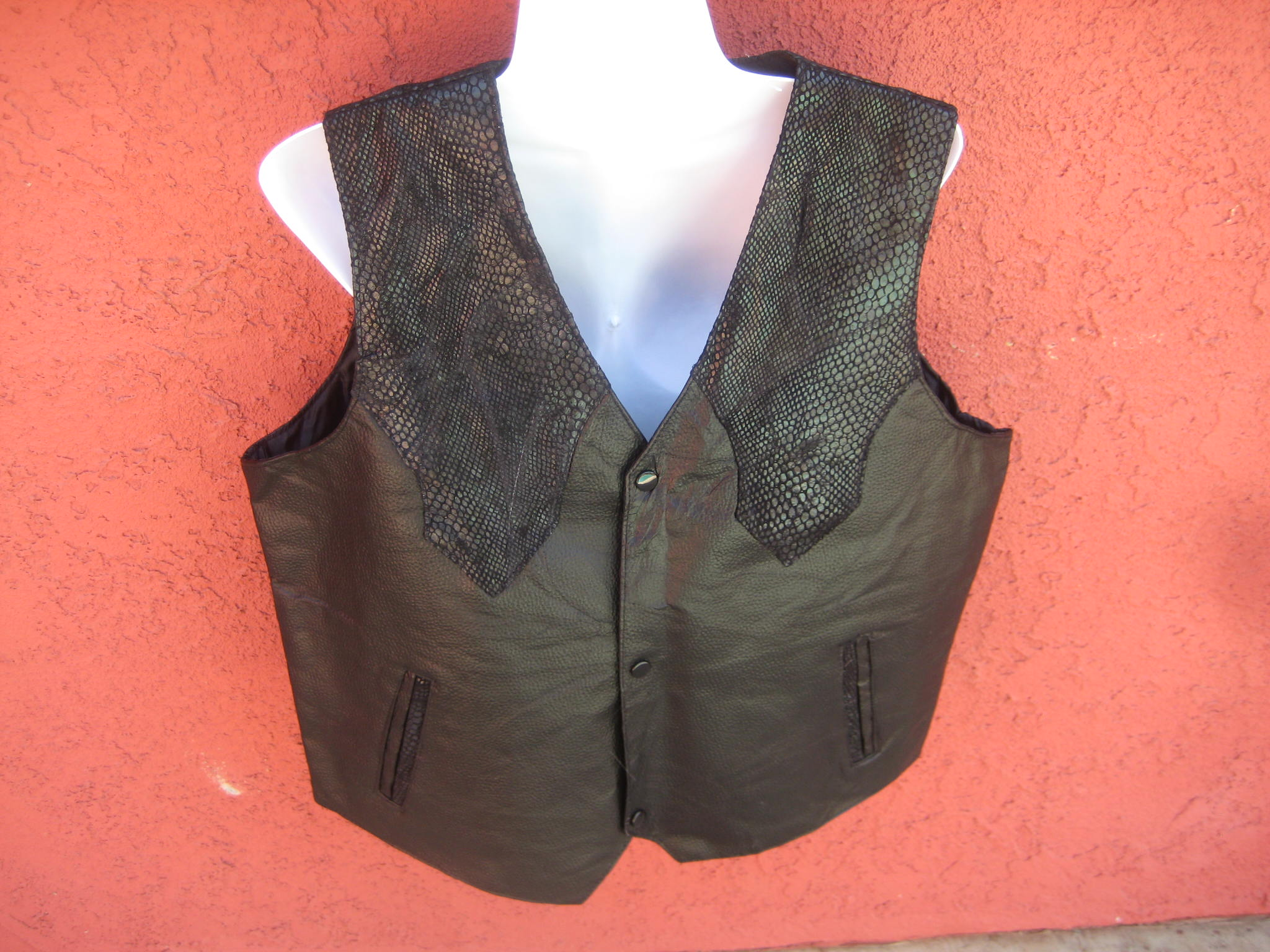 COWBOY STYLE VEST Hand-sewn Yellow Leather Ostrich and Black Snake Skin Pocket Vest