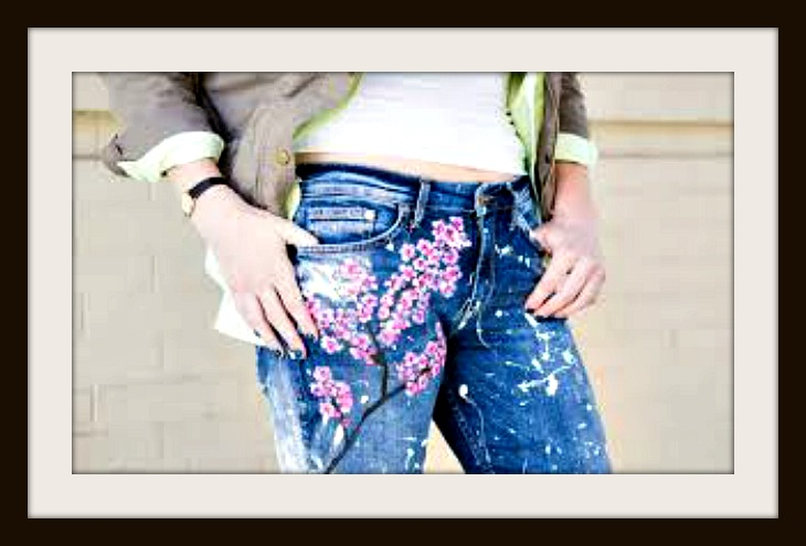 BOHEMIAN COWGIRL Hand Painted Cherry Blossom Spatter Paint Distressed Designer Jeans