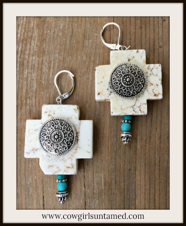 WILDFLOWER EARRINGS Medallion on Ivory Turquoise Cross Antique Silver Boho Earrings