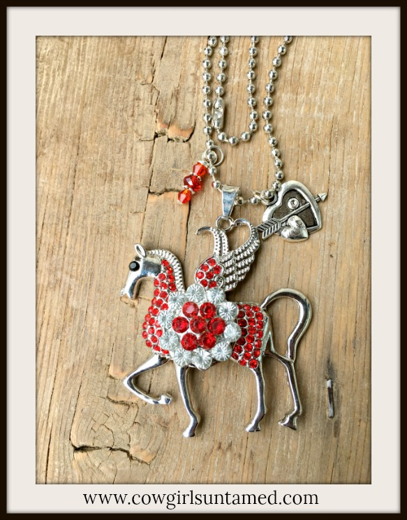 COWGIRL ATTITUDE NECKLACE Red Rhinestone Silver Winged Horse with Red REMOVABLE Crystal Snap Pendant Charm Necklace
