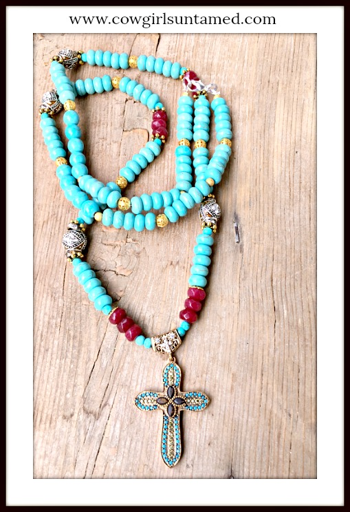 BOHEMIAN COWGIRL NECKLACE Antique Gold Turquoise & Ruby Cross on Turquoise Ruby Rhinestone Filigree Long Necklace