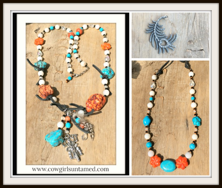 COWGIRLS ROCK NECKLACE Turquoise Orange White Gemstone Black Leather Feather Pendant Necklace