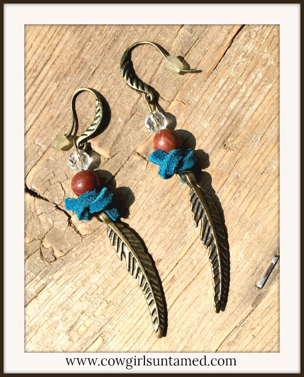 WESTERN COWGIRL EARRINGS Antique Bronze Feather with Turquoise leather Knot N' Gemstone Earrings