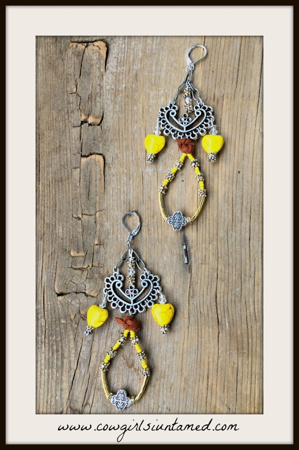COWGIRL GYPSY EARRINGS Yellow Turquoise Heart Rhinestone Antique Silver Cross Long Earrings