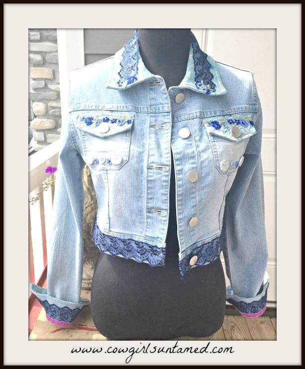 BOHEMIAN COWGIRL JACKET Embellished Blue & Aqua Lace Pink Velvet Sequin Butterfly Back Jean Jacket