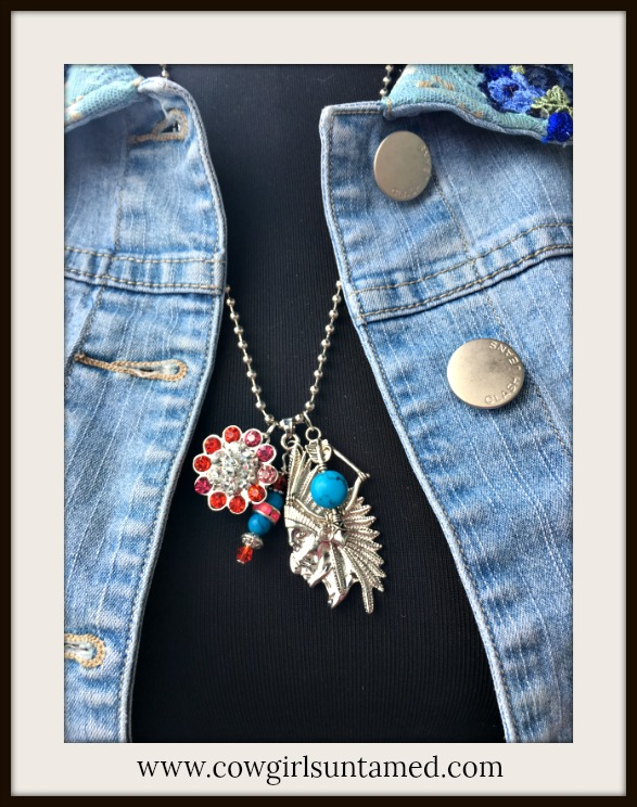 COWGIRL ATTITUDE NECKLACE Indian Chief & Rhinestone REMOVABLE Snap Pendant Bow & Arrow Charm Necklace