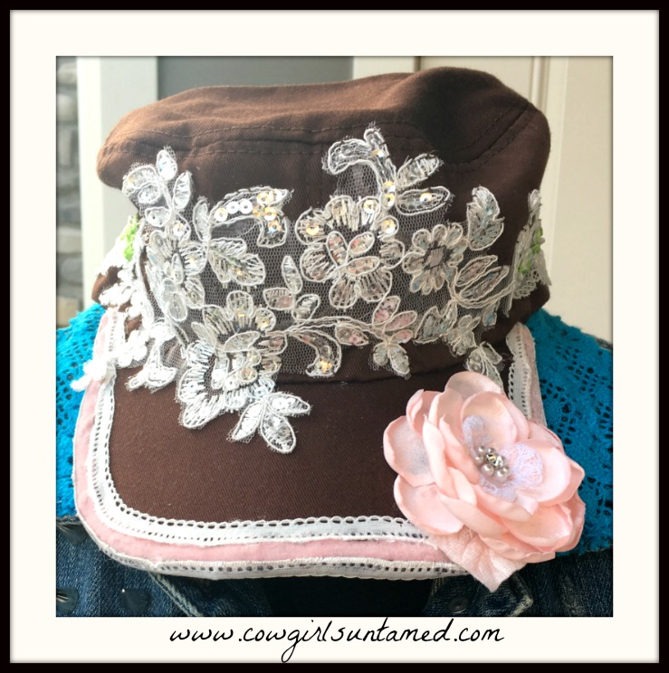 BOHEMIAN COWGIRL CAP Pink Velvet & Silk Flower White & Floral Lace Brown Cadet Cap