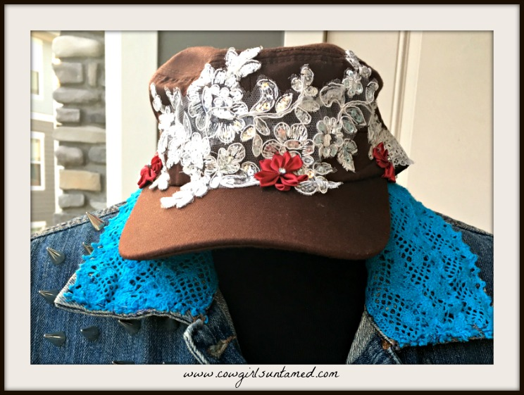 BOHEMIAN COWGIRL CAP Deep Red Silk Flower Rhinestone White Sequin Floral Lace Brown Cadet Cap
