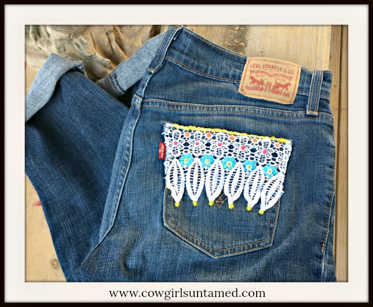BOHEMIAN COWGIRL JEANS Custom Upcycled Distressed Blue Levi 504 Boyfriend Jeans with Lace & Floral Embroidery