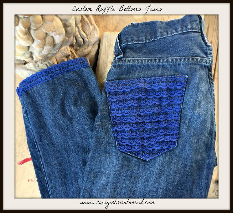 RUFFLE BOTTOM JEANS Custom Upcycled Distressed Skinny Dark Blue Levi Jeans with Layered Blue Lace