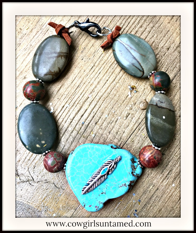 BOHEMIAN COWGIRL BRACELET Genuine Brown Sediment Jasper Turquoise Feather Embellished Brown Leather Bracelet