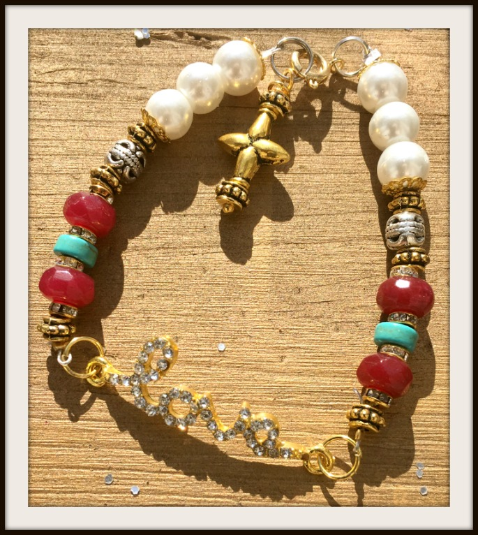 "COWGIRL GYPSY BRACELET Rhinestone ""Love"" on Gold Silver Turquoise & Ruby Pearl Bracelet"