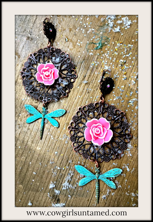 VINTAGE COWGIRL EARRINGS Patina Dragonfly & Pink Flower on Copper Filigree Crystal Earrings