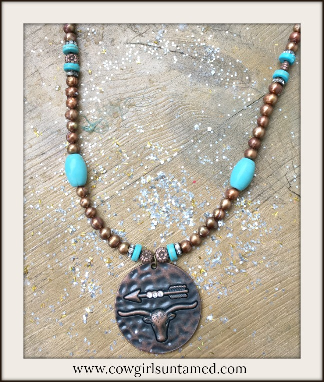 VINTAGE COWGIRL NECKLACE Antique Copper Rhinestone Steer & Arrow Pendant on Beaded Leather Necklace