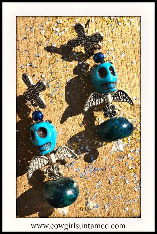 COWGIRL GYPSY EARRINGS Silver Skull & Angel Wings on Crystal and Teal Gemstone Earrings