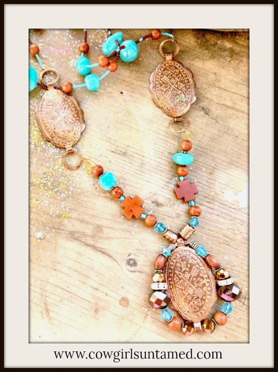 COWGIRL JUNK GYPSY NECKLACE Vintage Arrow Etched Copper Concho's with Brown Turkey Turquoise Gemstones Seed Beads Crystals Rhinestones Aqua Stone Beaded LONG Western Necklace