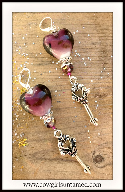 BOHEMIAN COWGIRL EARRINGS Purple Ombre Glass Heart & Faceted Crystal Earrings with Antique Silver Key