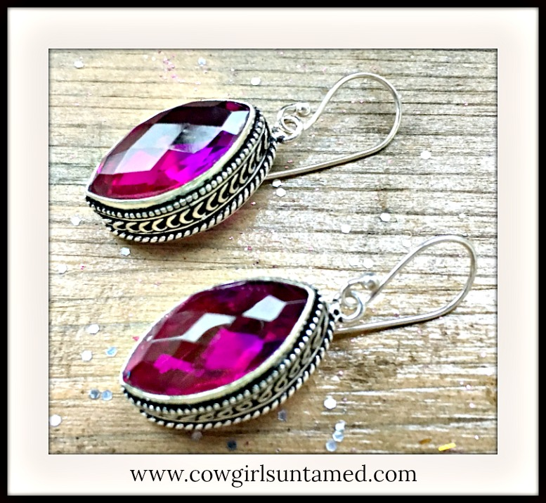 COWGIRL GYPSY EARRINGS Pink Rainbow Gemstone 925 Sterling Silver Dangle Earrings