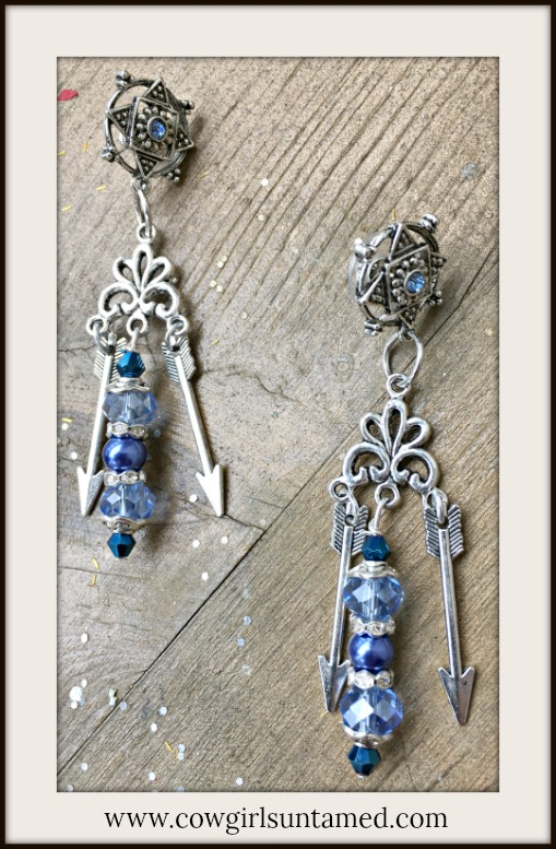 BOHEMIAN COWGIRL EARRINGS Light & Dark Blue Crystals Pearls Rhinestone Antique Silver Arrow Chandelier Earrings