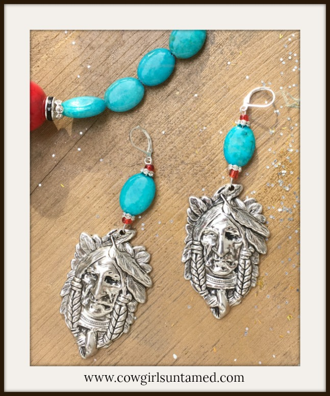 AMERICAN COWGIRL EARRINGS Large Silver Indian Chief on Long Beaded Earrings