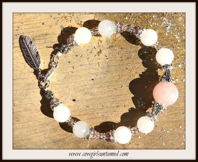 WILDFLOWER BRACELET White & Pink Gemstone Crystal Antique Silver Feather Charm Bracelet
