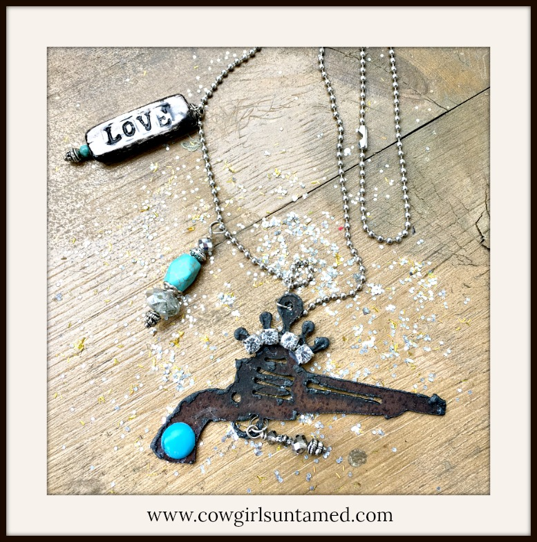 """COWGIRL ATTITUDE NECKLACE """"Love"""" Turquoise N' Crystal Charms on Metal Rhinestone Crown N Pistol Western Necklace"""