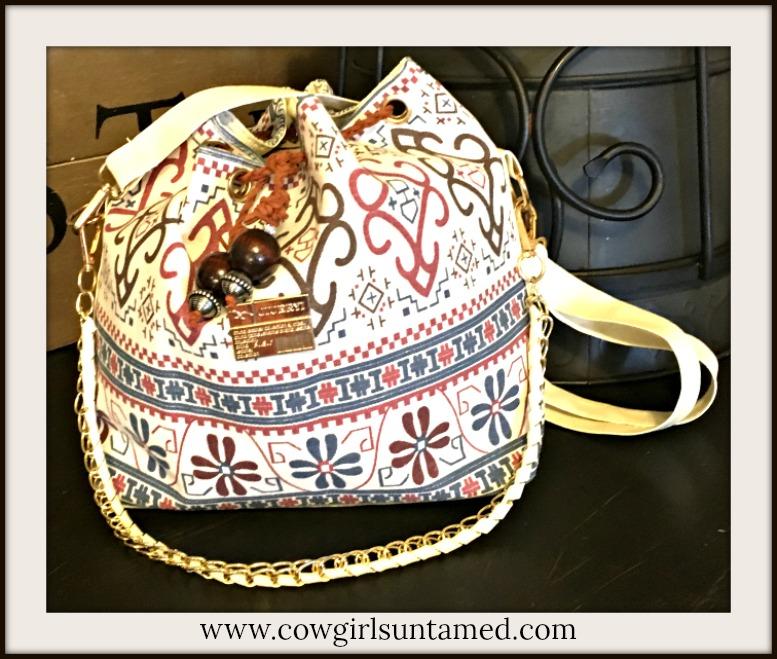 BOHO BAG Boho Canvas with Handmade Leather and Wood Ties Bucket Shoulder Bag