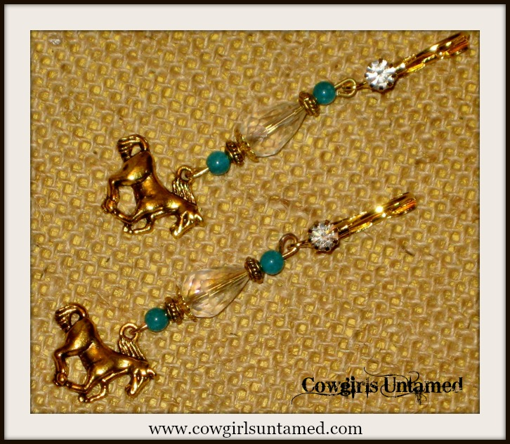 HORSE LOVIN' COWGIRL EARRINGS Antique Gold Horse with Crystal & Turquoise on Rhinestone Western Earrings