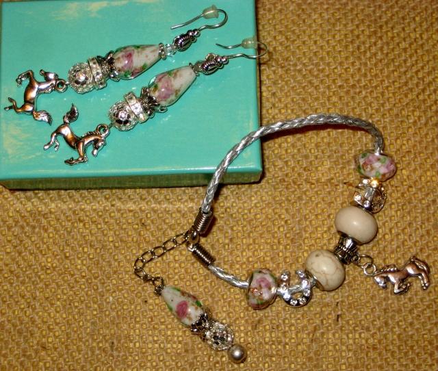 COWGIRL JUNK GYPSY BRACELET Vintage Rose Rhinestone Horseshoes Ivory Turquoise Horse Charm Western Bracelet