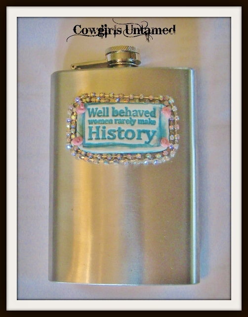 "COWGIRL ATTITUDE DECOR Turquoise ""Well Behaved Women Rarely Make History"" Tag with Pink Leather Stainless Steel 8oz Pocket Hip Western Flask"
