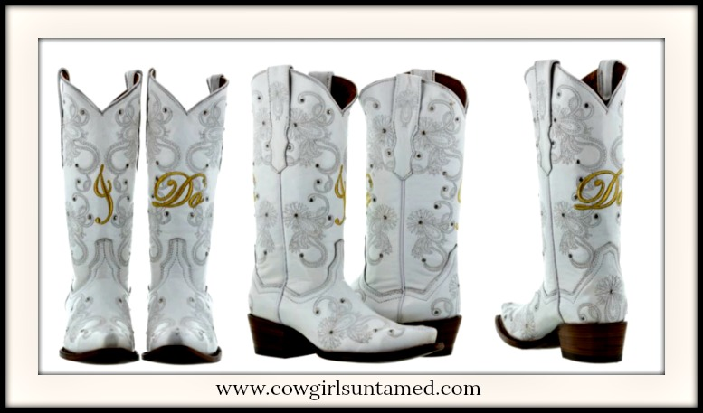 "COWGIRL WEDDING BOOTS ""I Do"" and Floral Embroidered Studded Winter White Wedding Boots"