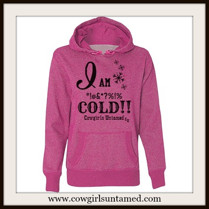 "SASSY BITCH SWEATSHIRT ""I am (bleepin') Cold!!"" Pink Glitter Oversized Hoodie Sweatshirt"