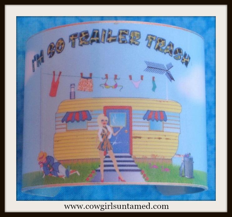 """TRAVELIN' COWGIRL GYPSY CUFF """"I'm So Trailer Trash"""" Blue with Trailer Camper & Laundry Line Metal Western Cuff Bracelet"""